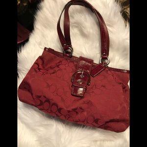 Authentic Coach Handbag Leather Trim, Clean.